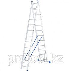 Лестница, 2 х 12 ступеней, алюминиевая, двухсекционная // СИБРТЕХ // Pоссия