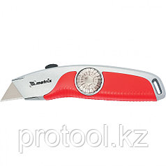 Нож, 18 мм выдвижное трапецивидное лезвие , эргономичная двухкомпонентная рукоятка//MATRIX