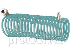 Полиуретановый спиральный шланг профессиональный BASF, 15 м, с быстросъемными соединением // Stels