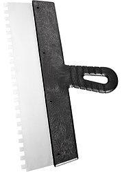 Шпатель  из нержавеющей стали, 350 мм, зуб 6х6 мм, пластмассовая ручка // СИБРТЕХ