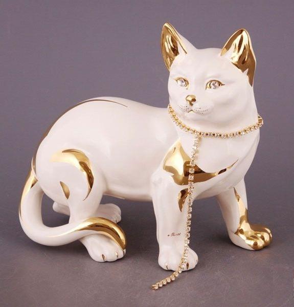 Статуэтка Кошка с ожерельем. Ручная работа, Италия