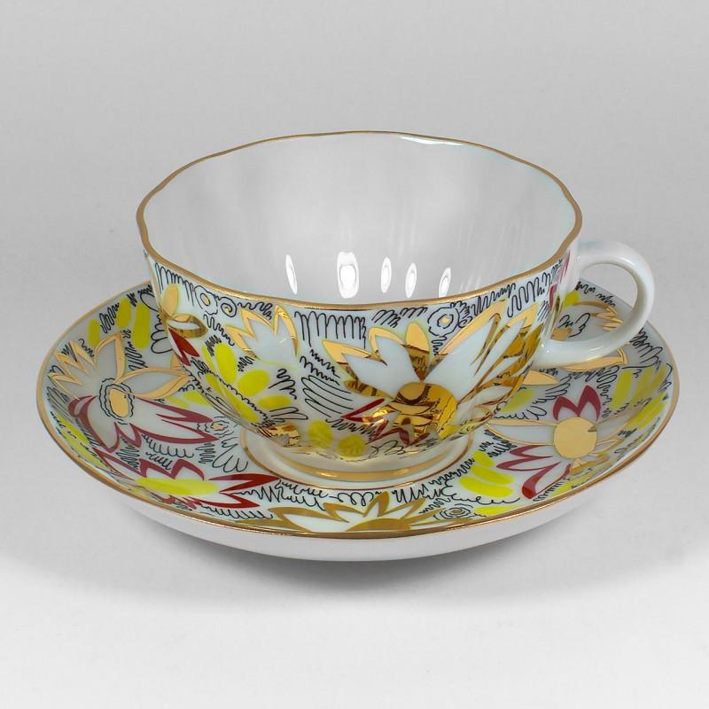 Чайная пара Золотые ромашки. Императорский фарфор