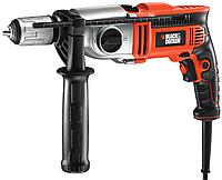 Black & Decker, KR1102K, Электронная 2-х скор. ударная дрель, 1100 Вт, 13 мм БЗП с блок. вала, реверс.