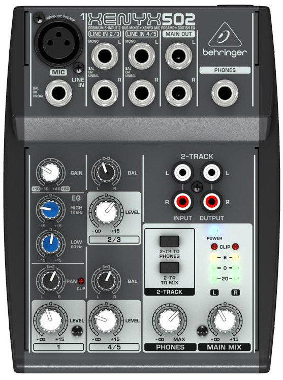 Behringer 502, 5, CD/tape.