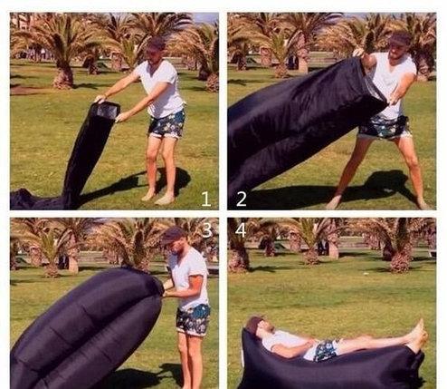 Надувной лежак Lamzak (Ламзак) Черный, фото 2