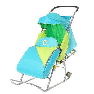 Детские Санки-коляска «Тимка Премиум». Цвет голубой, фото 2