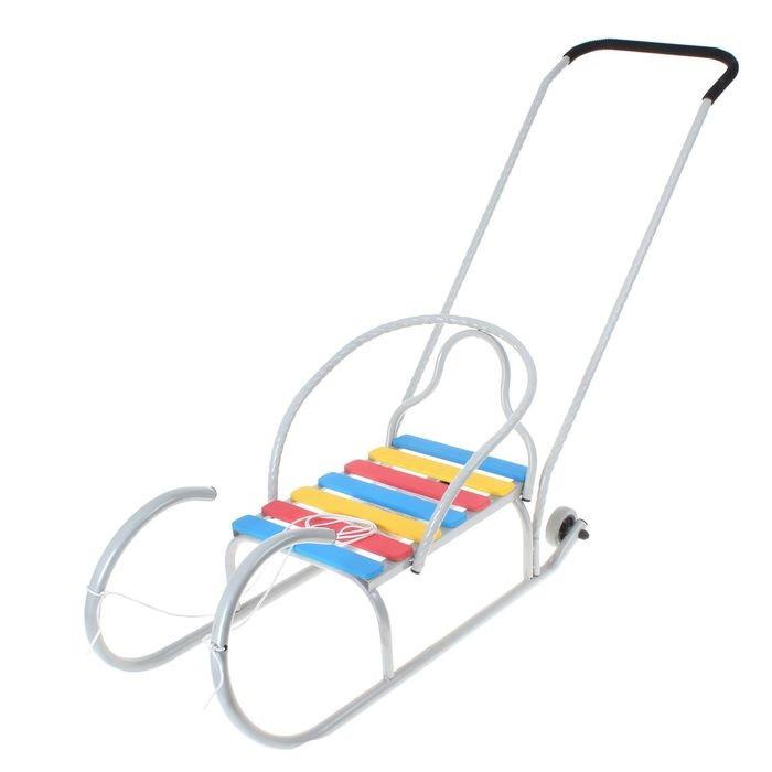 Детские Санки «Лео-4вк» с колёсиками, с толкателем, цвет серебро