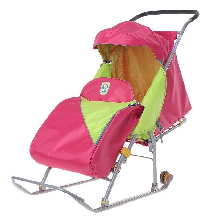Детские Санки-коляска «Тимка Премиум». Цвет малиновый