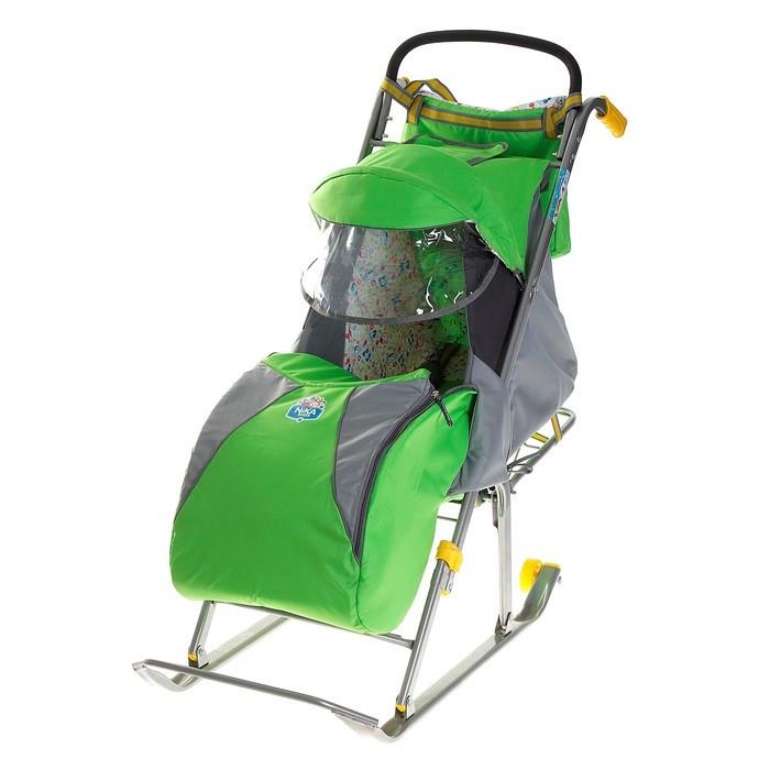 Детские Санки-коляска «Ника детям 2». Цвет зелёный