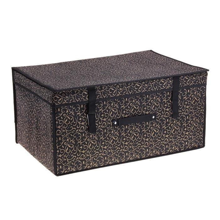"""Короб для хранения с крышкой 60х40х30 см""""Роскошь"""", цвет чёрно-золотой"""