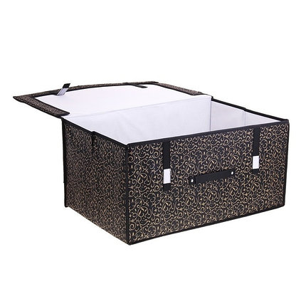 """Короб для хранения с крышкой 60х40х30 см""""Роскошь"""", цвет чёрно-золотой, фото 2"""