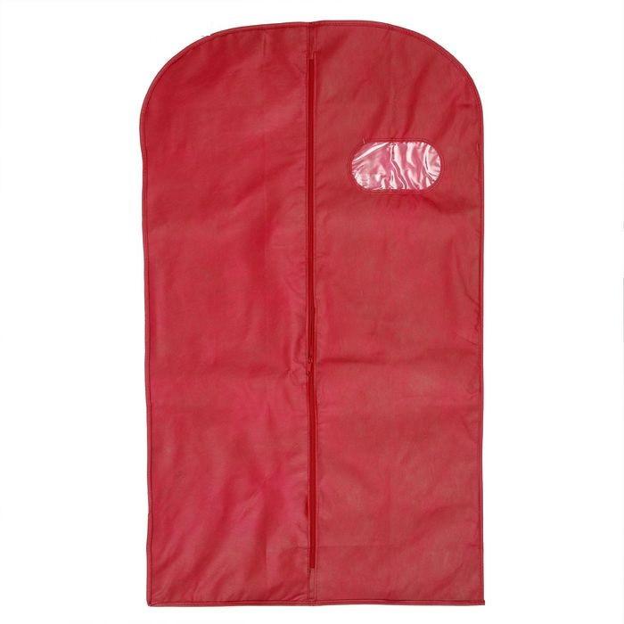 Чехол для одежды спанбонд, с окном 60х120 см, цвет бордо