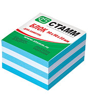 Блок для записей СТАММ 2-х цветный белый/голубой 9х9х5 см
