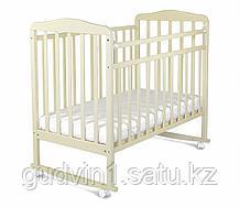 СКВ Кровать детская МИТЕНЬКА колеса качалка 160111 белая