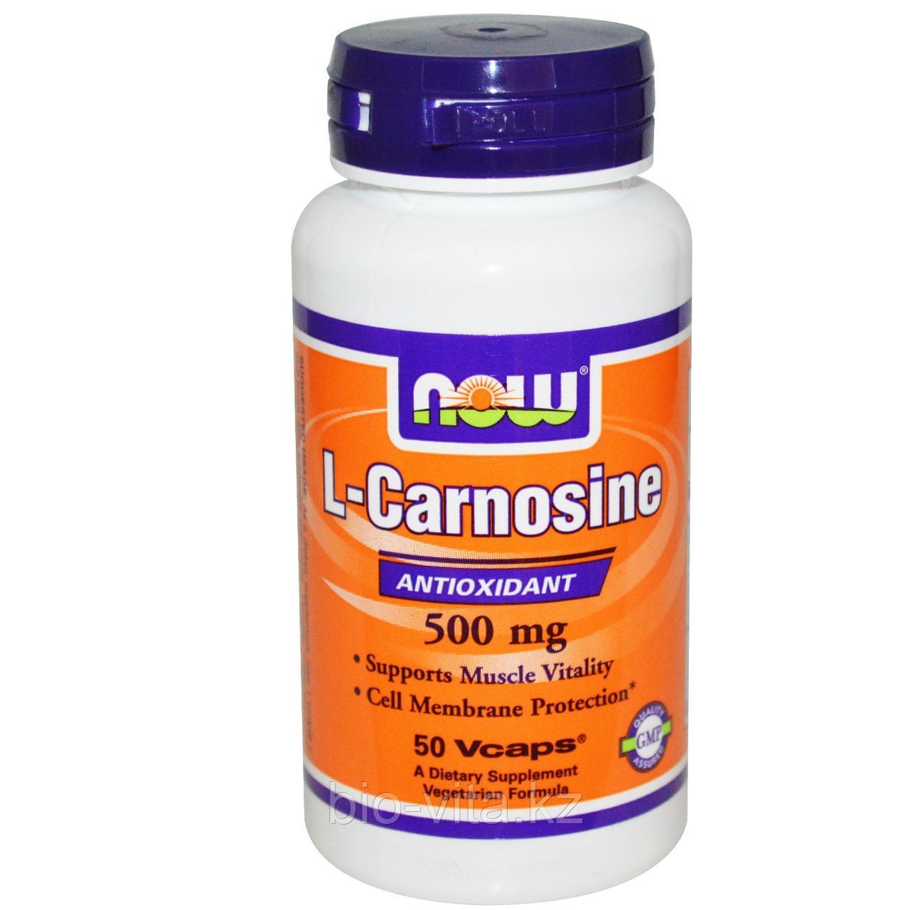 Now Foods, L-Carnosine L- Карнозин, 500 mg, 50 капсул.