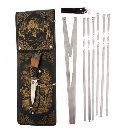 "Набор для шашлыка ""Охота на лося"" (6 шампуров,мангал, нож) 58Х20Х3,5 см"