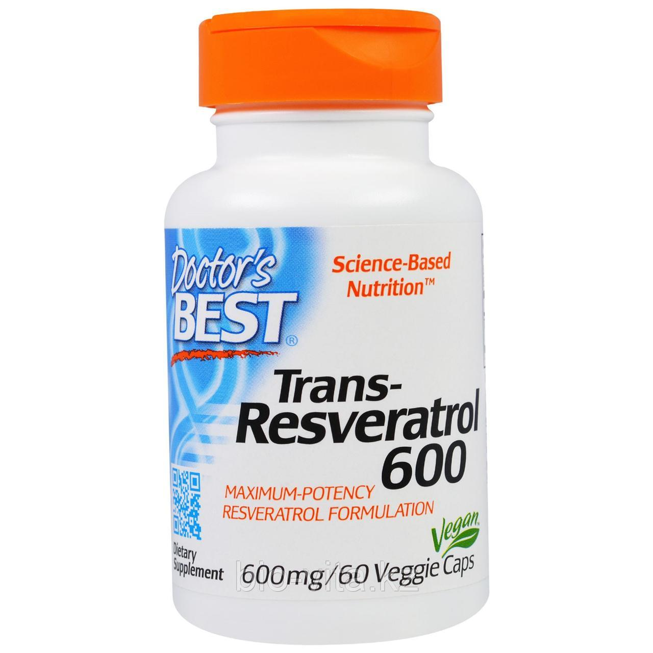 Doctor's Best, Лучший транс-ресвератрол 600, 600 мг, 60 капсул.