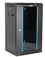 Hyperline TDC-9U-GR-RAL9004 Шкаф настенный 10'', 9U, 480х370х300, уст. размер 254 мм, со стеклянной дверью, открывающиеся стенки,