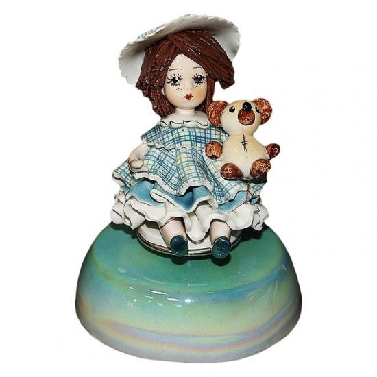 Статуэтка музыкальная Девочка с медведем. Италия, ручная работа.