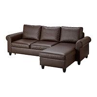 Диван-кровать с козеткой ФИКСХУЛЬТ темно-коричневый ИКЕА, IKEA, фото 1