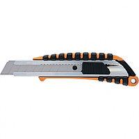 Нож, 18 мм выдвижное лезвие металлическая направляющая , метал. двухкомпонентный корпус//Sparta