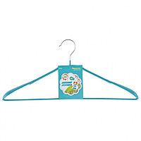 Вешалка метал для верхней одежды с прорезиненным противоскользящим покрытием 45 см, бирюзовая// ELFE