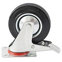 Колесо  поворотное с тормозом, диаметр 160мм, крепление платформенное, СИБРТЕХ 68723