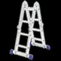 Лестница шарнирная алюминиевая, 4 секции по 2 ступени, Сибртех, 97879