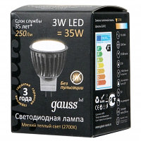 LED Лампа Gauss D35*45 3W MR11 GU4 2700K