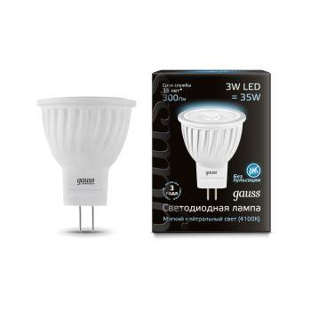 LED Лампа Gauss D35*45 3W MR11 GU4 4100K