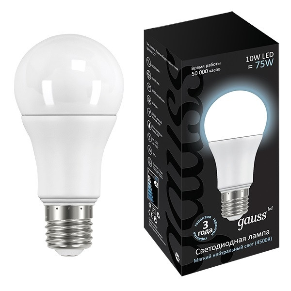 Лампа Gauss LED 10W E27 4100K 1/40