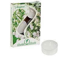 Свечи чайные ароматизированные 12 г ( набор 6 шт.), ландыш