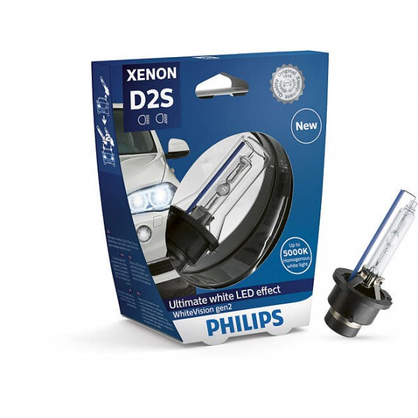 Ксеноновые лампы D2S Xenon White Vision +120 5000K/ PHILIPS