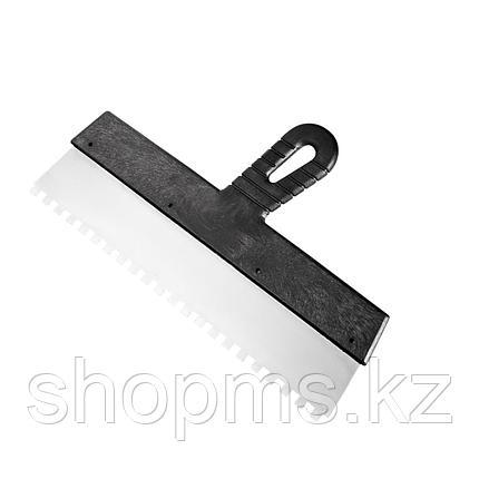 Шпатель из нержавеющей стали, 150 мм, зуб 4х4 мм, пластмассовая ручка // Россия, фото 2