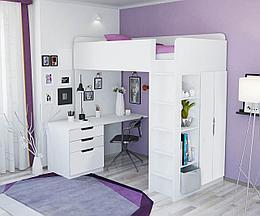 Кровать-чердак 5 в 1 Polini Simple с письменным столом и шкафом (белый)