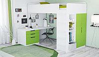 Кровать-чердак Polini Simple с письменным столом и шкафом, белый-лайм, фото 1