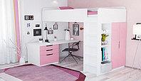 Кровать-чердак Polini Simple с письменным столом и шкафом, белый-розовый