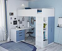 Кровать-чердак Polini Simple с письменным столом и шкафом, белый-голубой