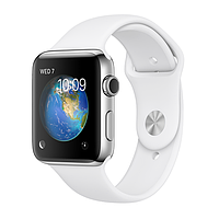 Apple Watch Series 2, 42mm Stainless Steel Case with White Sport Band (MNPR2)