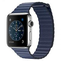 Apple Watch Series 2, 42mm Stainless Steel Case with Midnight Blue Leather Loop - Large (MNPX2)