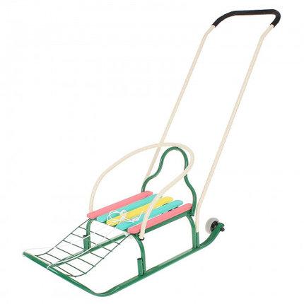 """Санки """"Кирюша-4вк"""" с толкателем, с колёсиками, цвет зелёный, фото 2"""