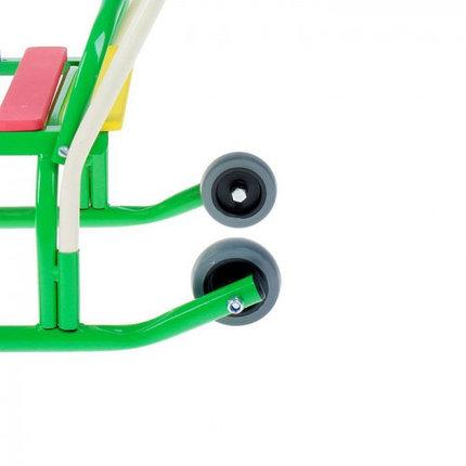"Санки ""Лео-4ВК"" с толкателем, с колесами, цвет: зеленый, фото 2"