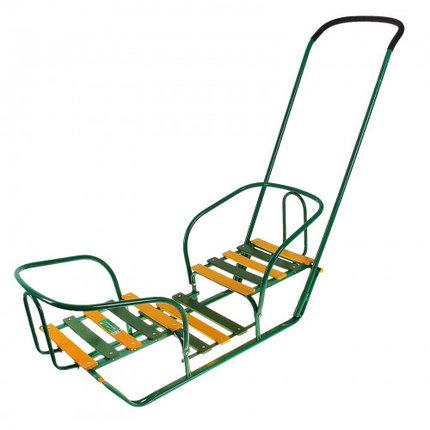 Санки для двойняшек с толкателем, цвет зеленый, фото 2