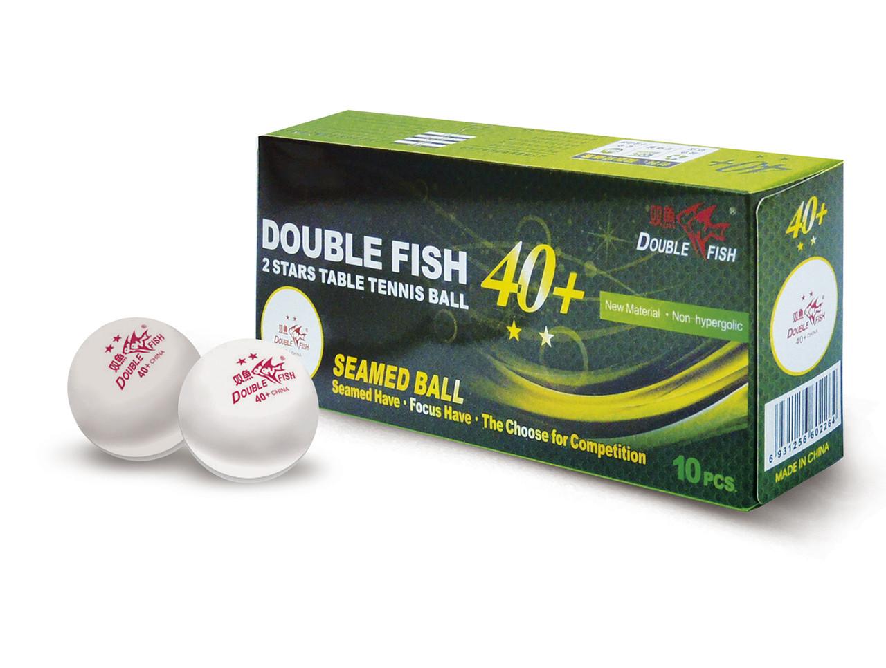 DOUBLE FISH 40+ 2*, 10 мячей в упаковке, белые