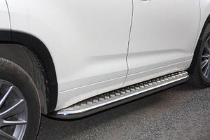 Пороги стальные Toyota Highlander  с площадкой D 60,3