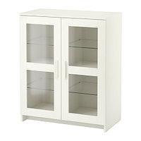 Шкаф с дверями БРИМНЭС стекло белый ИКЕА, IKEA