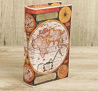"Шкатулка дерево книга ""Карта Колумба"" кожзам 21х13х5 см, фото 1"