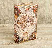 "Шкатулка дерево книга ""Морской путь, карта"" кожзам 21х13х5 см, фото 1"