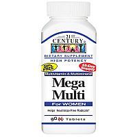 21st Century, Mega Multi, для женщин, витамины и минералы, 90 таблеток.