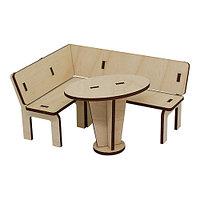 L-706 Деревянная заготовка кукольная мебель'Кухонный уголок со обеденным столиком' 12*9,5*6см, 7*4,5*5,5 см